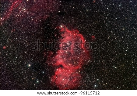 Actual astrophotograph. ic1848 Constellation Cassiopeia. Called the Emperor Nebula.  imagine different faces. A profile, Ben Franklin, turned upsided down, maybe Einstein. Also called the Soul nebula - stock photo