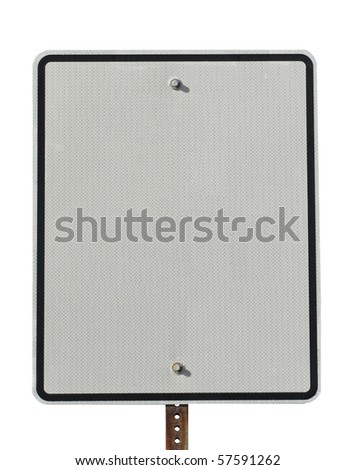 Actual white reflective street sign blank for copy space - stock photo