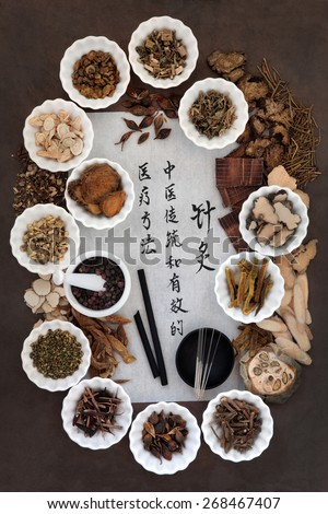 Acupuncture needles, moxa sticks and chinese herbal medicine selection with calligraphy script. Translation reads as acupuncture chinese medicine is a traditional and effective medical solution. - stock photo