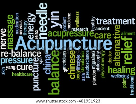 Acupuncture, word cloud concept on black background.  - stock photo