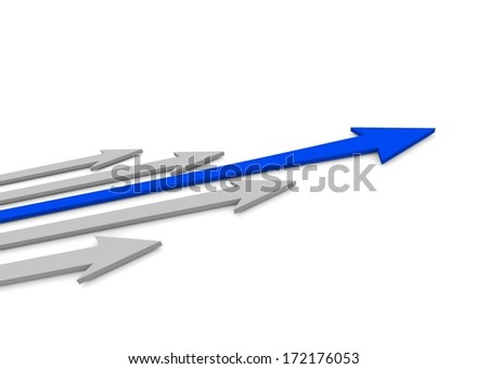 Acute arrows with leader. Concept. 3d illustrationacute - stock photo