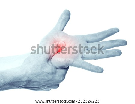 Acute pain in a man hand. Isolation on a white background - stock photo