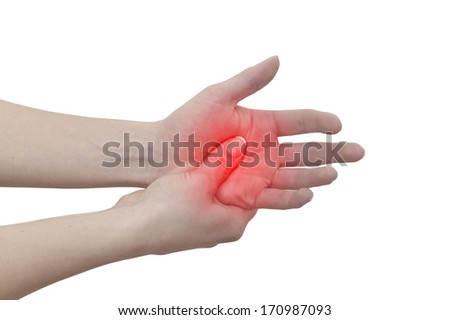 Acute pain in a man palm. Female holding hand to spot of palm-ache. Concept photo with Color Enhanced blue skin with read spot indicating location of the pain. Isolation on a white background. - stock photo