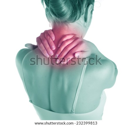 Acute pain in a neck at the young women. - stock photo