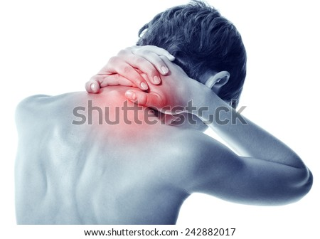 Acute pain in a neck at the young women. young girl keeps for a sick neck on a white background  - stock photo