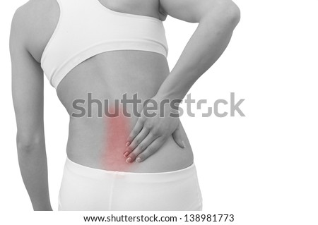 Acute pain in a woman back. Female from behind holding hand to spot of back pain. Concept photo with Color Enhanced skin with read spot indicating location of the pain. Isolation on a white background - stock photo