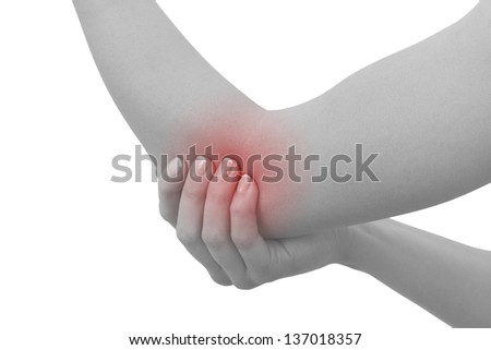Acute pain in a woman elbow. Female holding hand to spot of elbow pain. Concept photo with Color Enhanced blue skin with read spot indicating location of the pain. Isolation on a white background. - stock photo