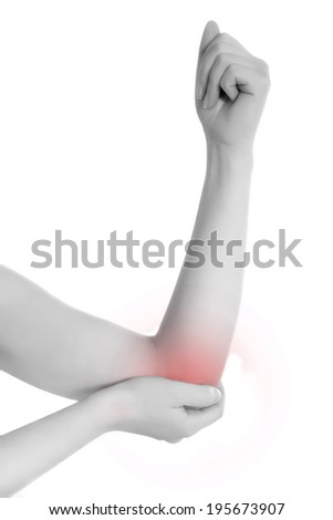 Acute pain in a woman elbow. Female holding hand to spot of elbow pain. Concept photo with Color Enhanced skin with read spot indicating location of the pain. Isolation on a white background. - stock photo