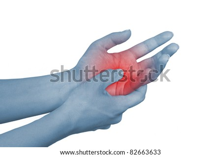 Acute pain in a woman hand. Isolation on a white background - stock photo