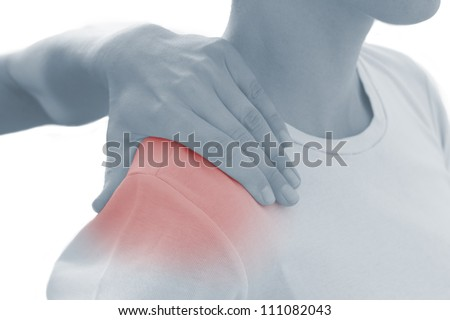 Acute pain in a woman shoulder. Female holding hand to spot of shoulder-aches. Concept photo with Color Enhanced blue skin with read spot indicating location of the pain. Isolation on a white. - stock photo