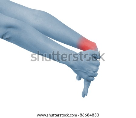 Acute pain in a woman wrist. Isolation on a white background. - stock photo