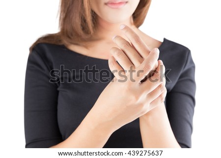 Acute pain in a women wrist, isolate on white background - stock photo
