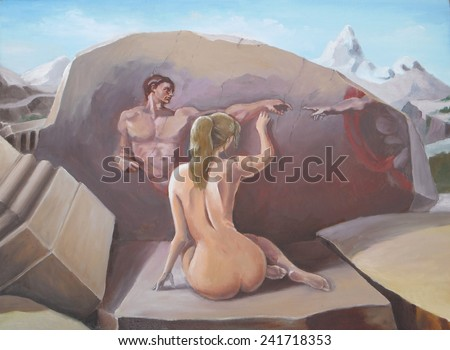 Adam and Eve. Post-apocalyptic saga. Nude girl among the ancient ruins. Painting, oil. - stock photo