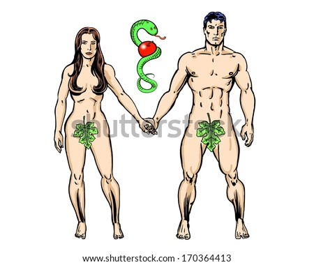 Adam and Eve with snake and apple  - stock photo