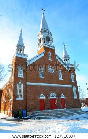Adamsville, Quebec, Canada,  Saint-Vincent-Ferrier church. - stock photo
