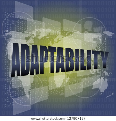 adaptability word on digital screen. financial background, raster - stock photo