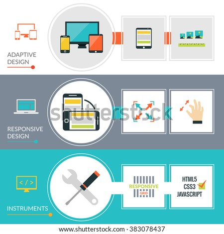 Adaptive Responsive Web Design Banner Set - stock photo