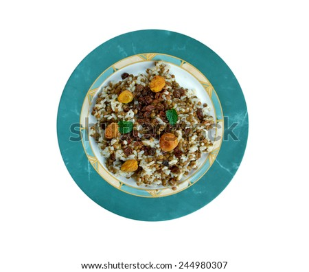 Adas Polow - raditional Iranian dishes,rice and lentil pilaf - stock photo