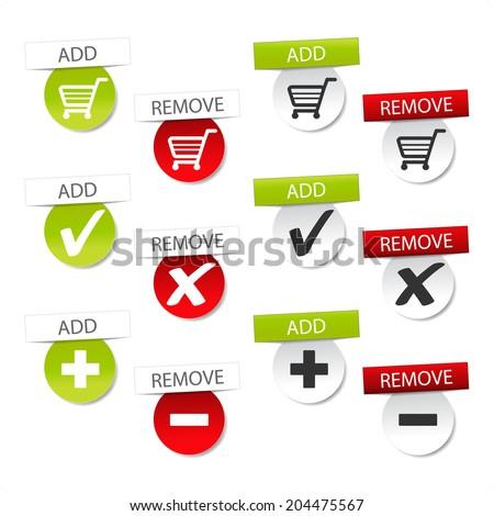 add delete shopping cart item, shopping trolley symbol  - stock photo