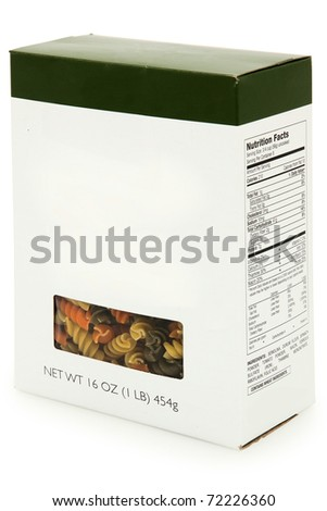 Add text blank label box of tri colored spiral noodles with nutrition facts.  16 oz box. - stock photo