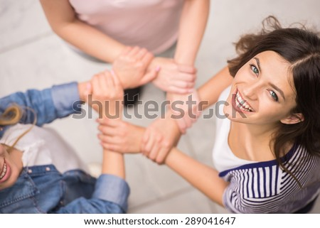 Addicted people having good time together on special group therapy. - stock photo