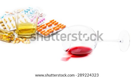 Addictions to alcohol, drugs - stock photo