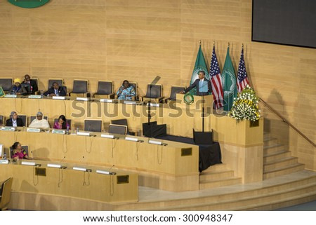 Addis Ababa - July 28: President Obama delivers a keynote speech to the African continent and its leaders, on July 28, 2015, at the Nelson Mandela Hall of the African Union in Addis Ababa, Ethiopia. - stock photo