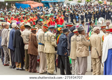 Addis Ababa - May 5: Arbegnoch Patriots and war veterans attend the 74th anniversary of Patriots' Victory day commemorating the defeat of the invading Italians on May 5, 2015 in Addis Ababa, Ethiopia. - stock photo