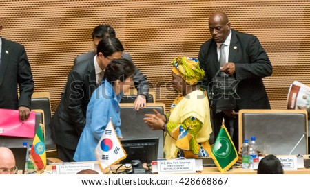 Addis Ababa - May 27: Chairperson of the AUC, greets MME. Park Geun-Hye, President of the Republic of Korea during her visit to the AUC, on May 27, 2016, in Addis Ababa, Ethiopia. - stock photo