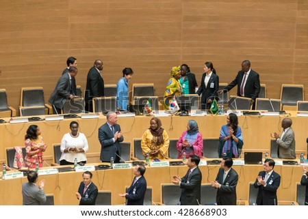 Addis Ababa - May 27: H.E. MME. Park Geun-Hye, President of South Korea visits the African Union Commission accompanied by Prime Minister of Ethiopia, on May 27, 2016, in Addis Ababa, Ethiopia. - stock photo