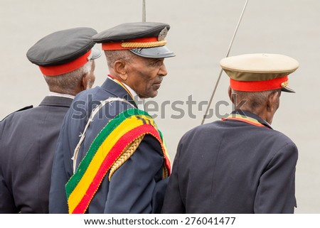 Addis Ababa - May 5: Patriots and old war veterans attend the 74th anniversary of Patriots' Victory day commemorating the defeat of the invading Italians on May 5, 2015 in Addis Ababa, Ethiopia. - stock photo