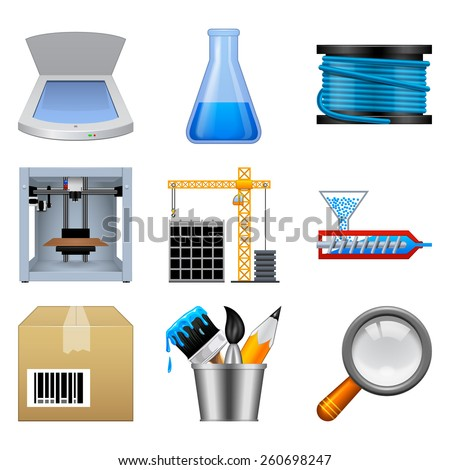 Additive manufacturing icons isolated on a white background. This icon set is useful for 3d printer applications. - stock photo