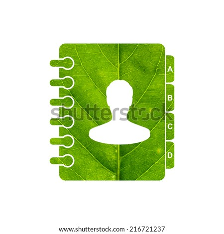 Address book icon made of green leaf isolated on white background - stock photo