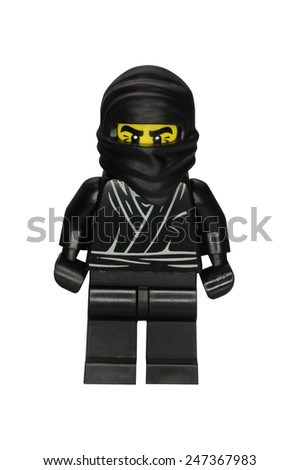 ADELAIDE, AUSTRALIA - January 09 2015:A studio shot of a Ninja Lego minifigure from Minifigure Series 1. Lego is extremely popular worldwide with children and collectors. - stock photo