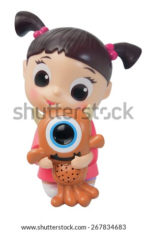 ADELAIDE, AUSTRALIA - March 27 2015:A studio shot of a Boo figurine from the Animated Series Monsters Inc. Monsters Inc. is a popular movie series created by Disney Pixar. - stock photo
