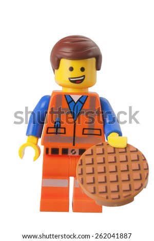 ADELAIDE, AUSTRALIA - March 10 2015:A studio shot of a Emmet Lego minifigure from the Lego Movie. Lego is extremely popular worldwide with children and collectors. - stock photo