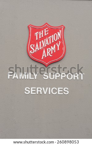 ADELAIDE, AUSTRALIA - March 15 2015: The Salvation Army Logo at one of its family support centres. The salvation army is an organisation providing services to disadvantged people in the community. - stock photo
