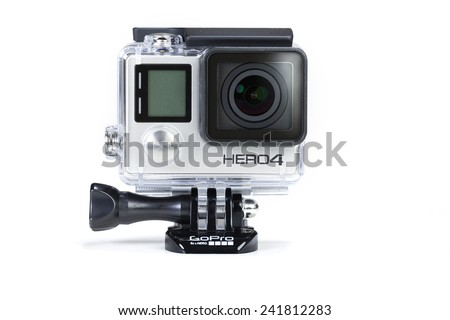 Adelaide, Australia - Oct 13: Studio shot of GoPro Hero 4 Black on Oct 13, 2014. It is a compact, lightweight personal camera manufactured by GoPro Inc. - stock photo