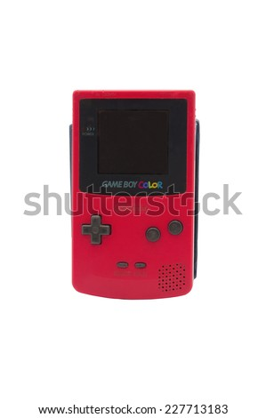 ADELAIDE, AUSTRALIA - October 27 2014:A studio shot of a Nintendo Game Boy Colour. A popular handheld video game device which has sold over 100 million units worldwide. - stock photo