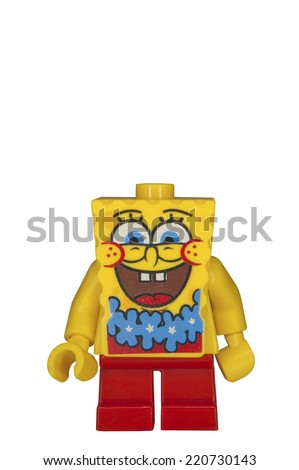 ADELAIDE, AUSTRALIA - September 14 2014:A studio shot of a Spongebob Lego minifigure from the cartoon series. Lego is popular with children and collectors worldwide. - stock photo