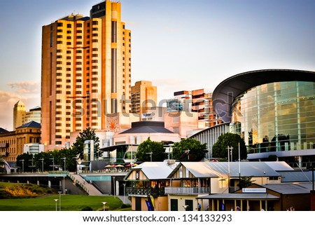 Adelaide skyline  at sunset - stock photo