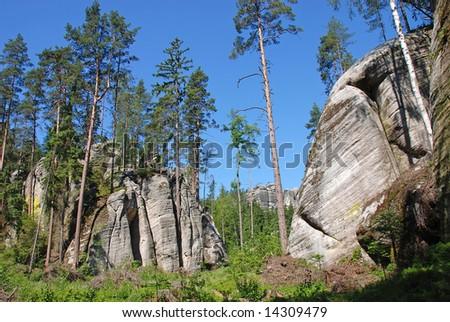 Aderspach sandstone rock city in Czech Republic - stock photo