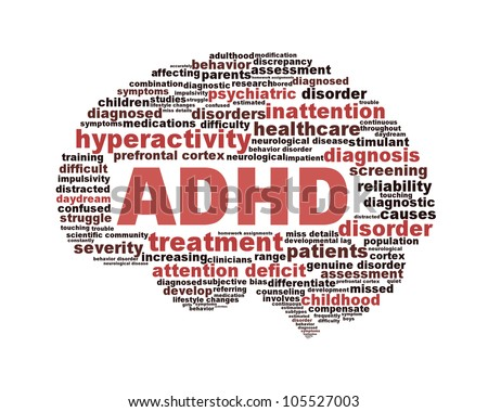 ADHD symbol design isolated on white background. Attention deficit hyperactivity disorder symbol conceptual design - stock photo