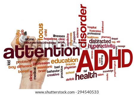 ADHD word cloud concept - stock photo