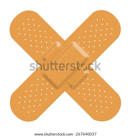 Adhesive bandage plaster cross to represent damage or pain and a solution. Isolated on a white background with clipping path. - stock photo