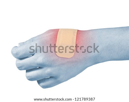 Adhesive Healing plaster on hand finger. Pain concept photo. - stock photo
