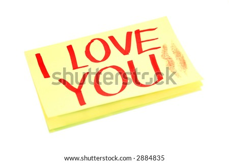 Adhesive yellow post it note,with I LOVE YOU written on,isolated on white. - stock photo