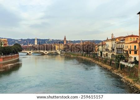 Adige River in Verona, Italy - stock photo