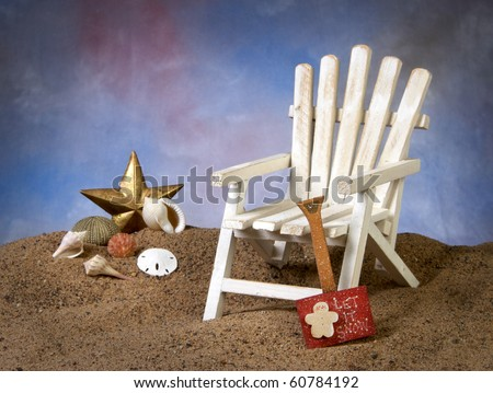 Adirondack chair with Christmas at the beach - stock photo