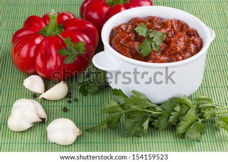 adjika fresh red pepper and spices - stock photo